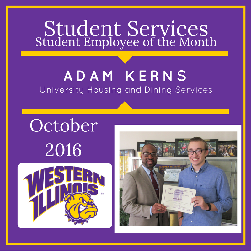 Student Employee of the Month: Adam Kerns, Student Employee, University Housing and Dining Services