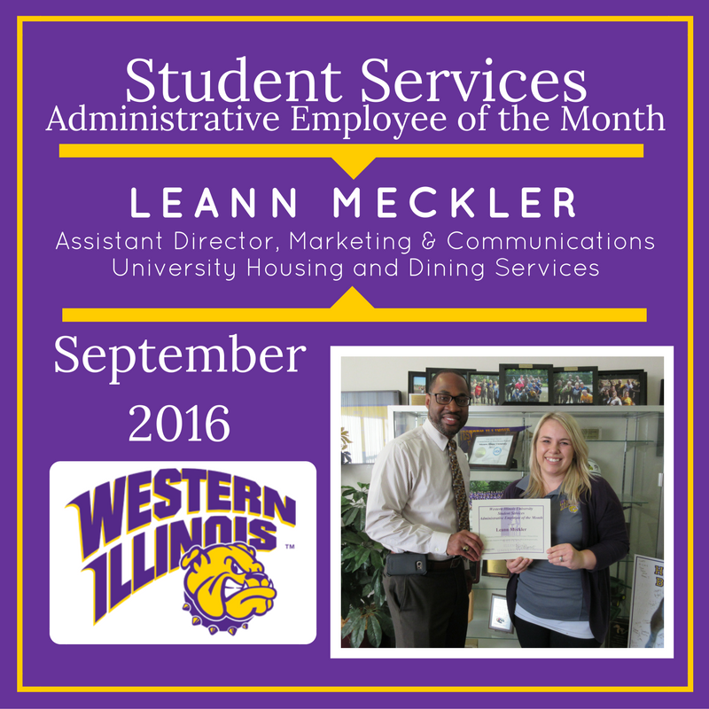 Administrative Employee of the Month: Leann Meckler, Assistant Director, Marketing and communications University Housing and Dining Services