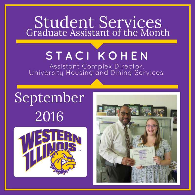 Graduate Assistant of the Month: Staci Kohen, Assistant Complex Director, University Housing and Dining Services