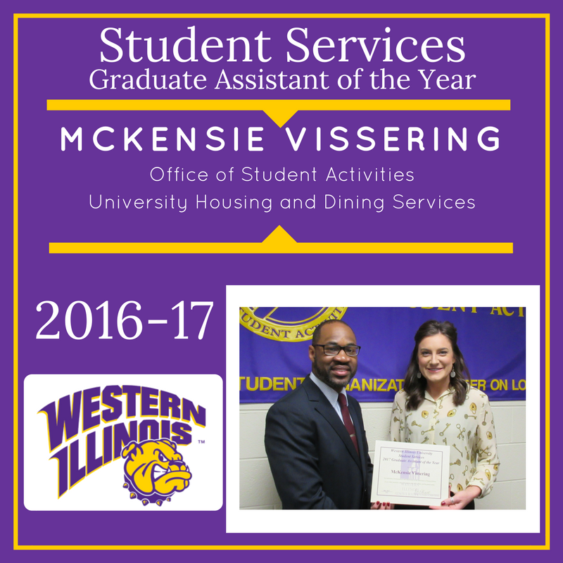 Graduate Assistant of the Year:  McKensie Vissering, University Housing and Dining Services