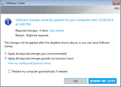 screenshot of a popup that says that software changes must be applied, with a time limit