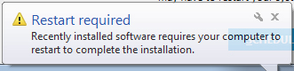 screenshot of popup that says a restart is required