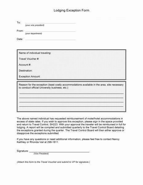 Lodging Exception Form