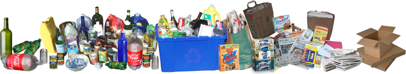 Composite image of various recyclable items (bottles, cans, newspaper, etc.)