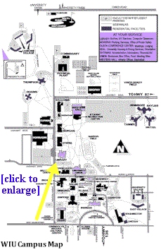 Smaller image of WIU campus map - select the image for a PDF